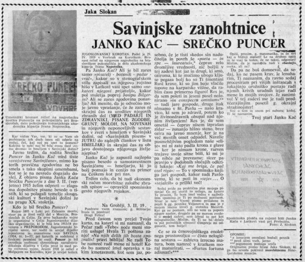Zapis o Janku Kaču: Celjski tednik, 9. 4. 1965, št. 14, str. 5