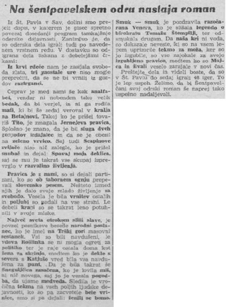 V Savinjskem vestniku, št. 23, je bilo, dne 13. 1. 1951, na 2. strani objavljeno, da so na šentpavelskem odru zaigrali 48 iger.