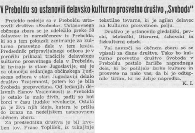 1952: Ustanovitev Kulturno prosvetnega društva »Svoboda« Savinjski vestnik, 20. 9. 1952, stran 3