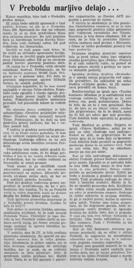 1953: Igra: »Celjski grofi« Savinjski vestnik, 9. 5. 1953, stran 4