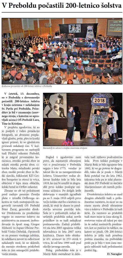 Sodelovanje na prireditvi, Utrip Savinjske doline, 21. 12. 2018, št. 12, str. 6