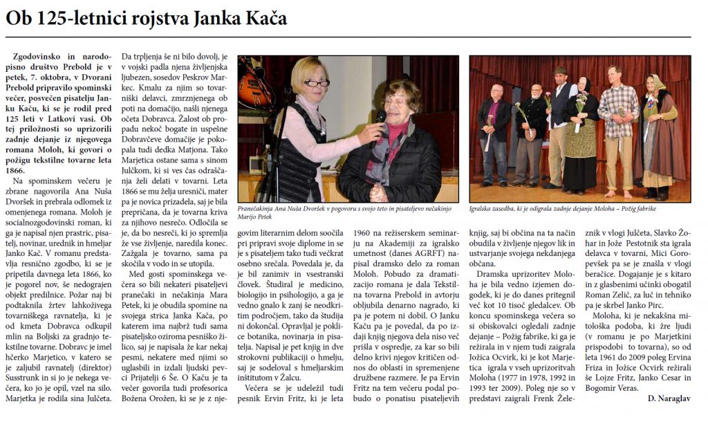 Sodelovanje na prireditvi ob 125-letnici rojstva Janka Kača, Utrip Savinjske doline, 26. 10. 2016, št. 10, str. 26